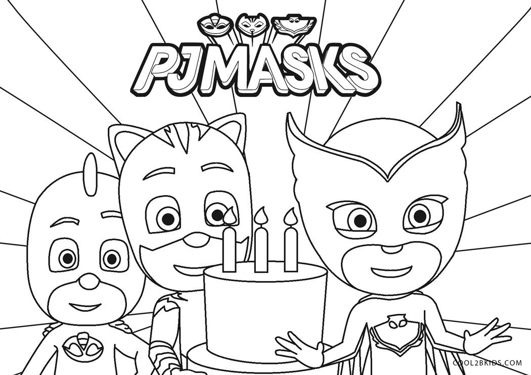 PJ Masks Happy Birthday Coloring Page