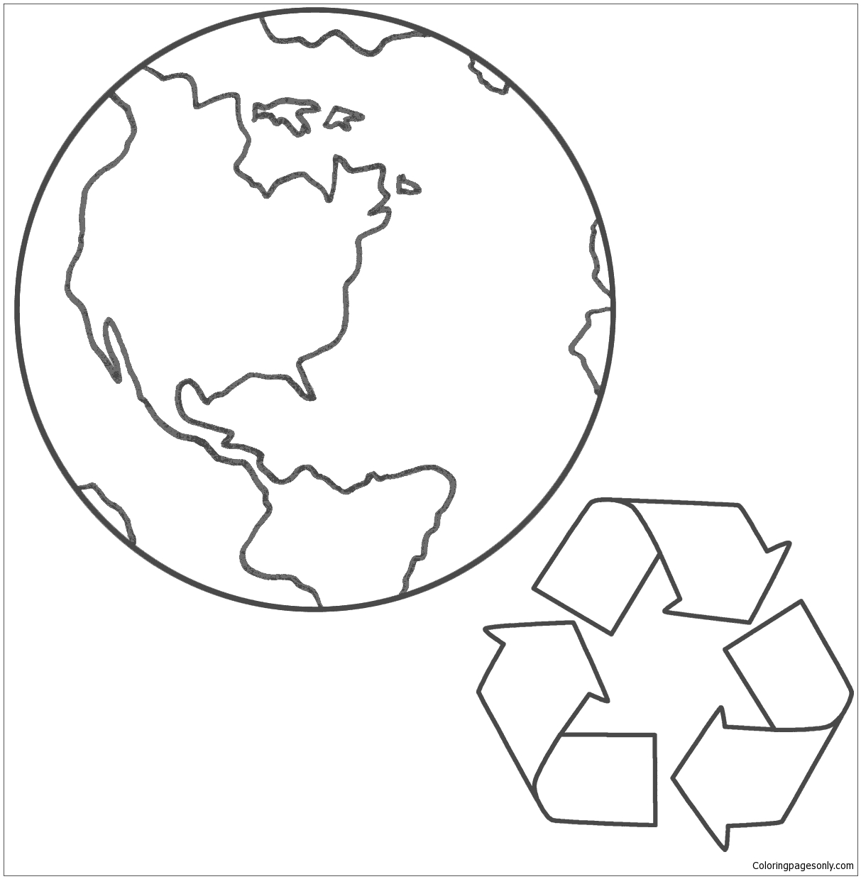 Planet Earth And Recycling Coloring Page