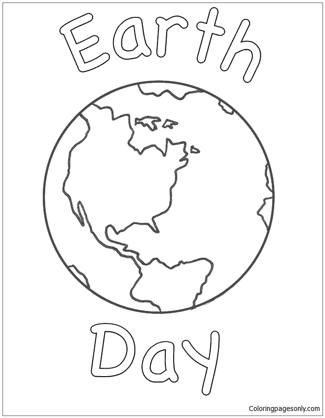 Planet Earth With Earth Day Coloring Page