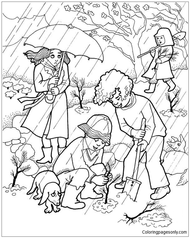 Planting A Tree Under The Rain Coloring Page