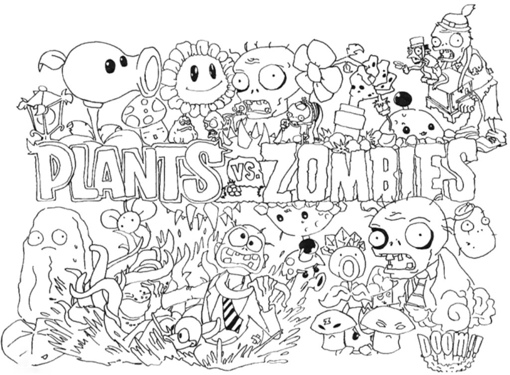 Plants vs Zombies full Coloring Page