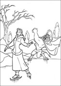 Ice Skating  from Beauty and the Beast Coloring Page
