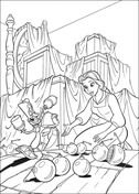 Princess Belle and Christmas balls from Beauty and the Beast Coloring Page