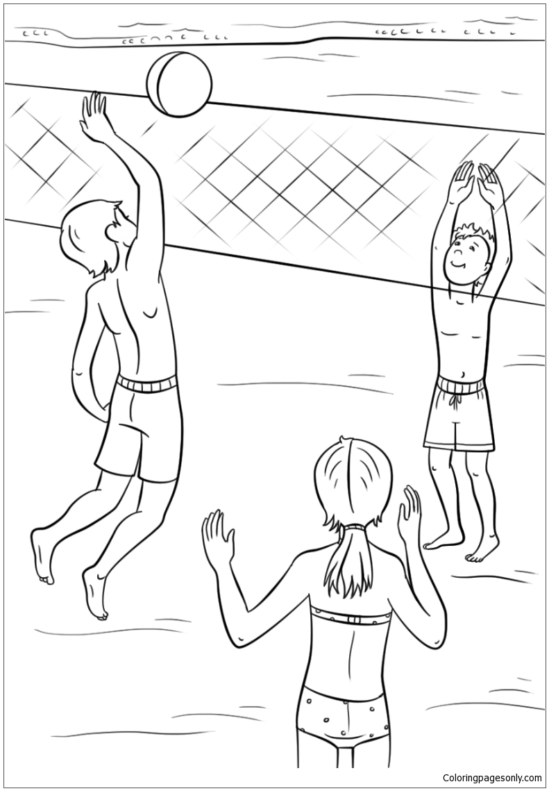 Play Volleyball On The Beach In The Summer Coloring Page
