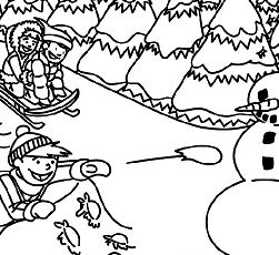 Playing In The Snow Coloring Page