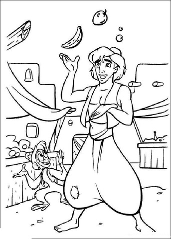 Aladdin is juggling fruits  from Aladdin Coloring Page