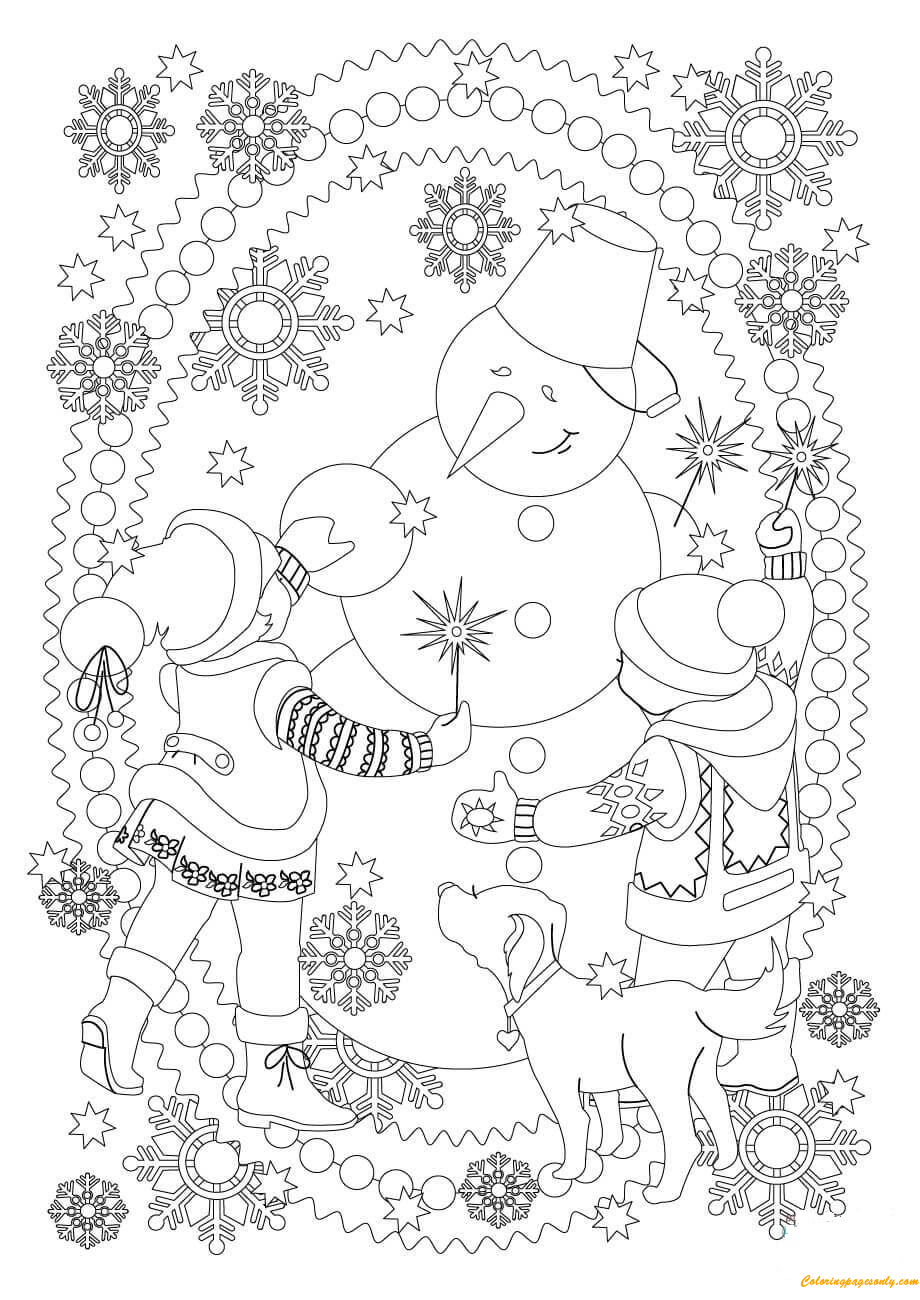 playing with snowman coloring page free coloring pages online