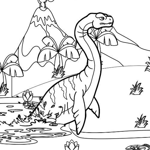 Plesiosaurus Dinosaur in the lotus lake Coloring Page