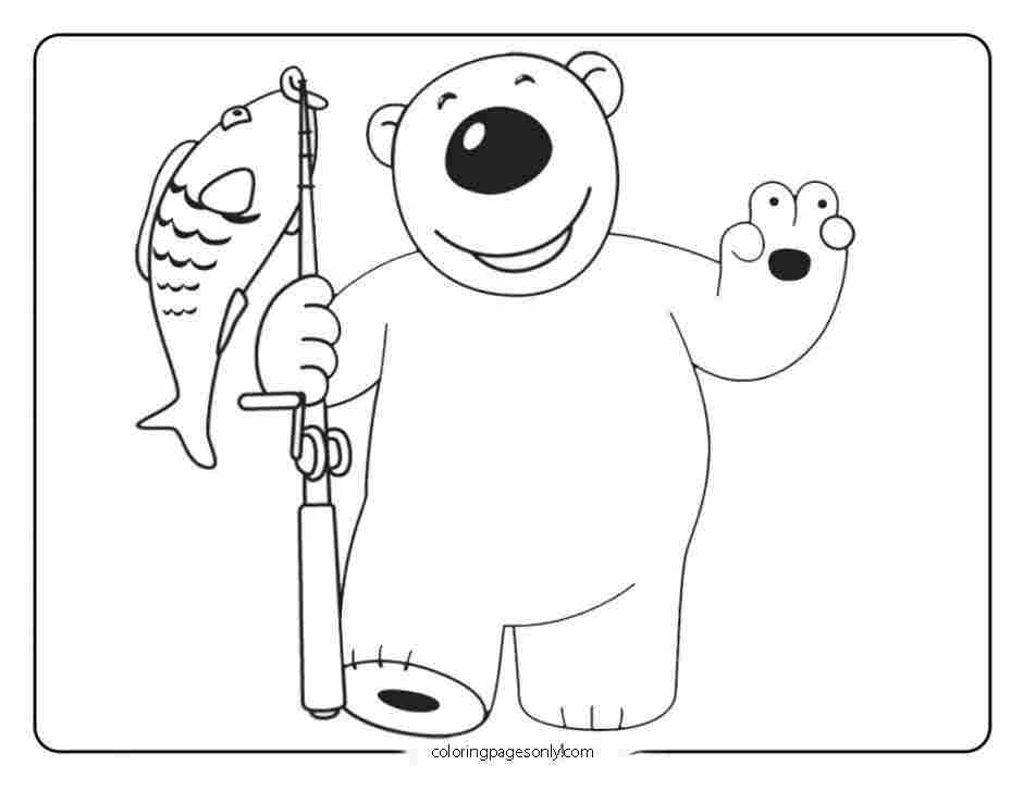 Poby from Pororo Series catches a fish Coloring Page