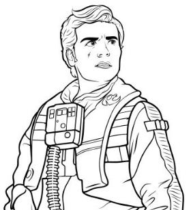 Poe And BB-8 Coloring Page
