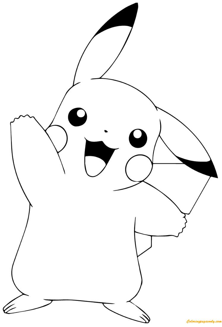 Pok mon GO Pikachu Waving Coloring Page Free Coloring
