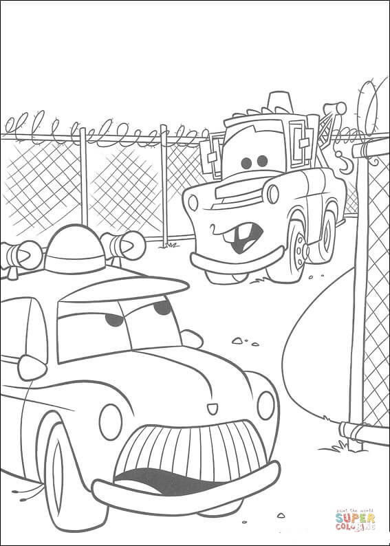 Sheriff And Mater From Disney Cars Coloring Page