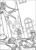 Batman, thieves and police of Gotham from Batman Coloring Page