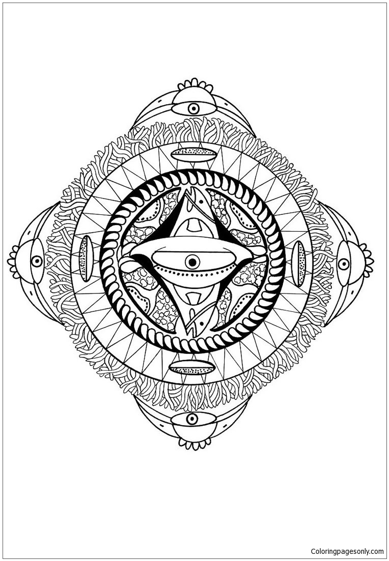 Polynesian Mandala With Face Bird And Fish Coloring Page