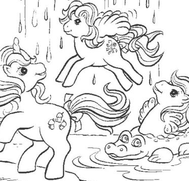 Ponies And A Waterfall Coloring Page