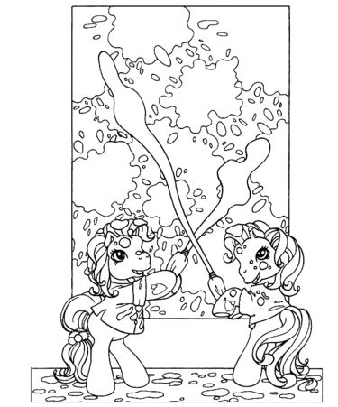Ponies Are Painting The Wall Coloring Page