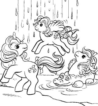 Ponies At waterfall