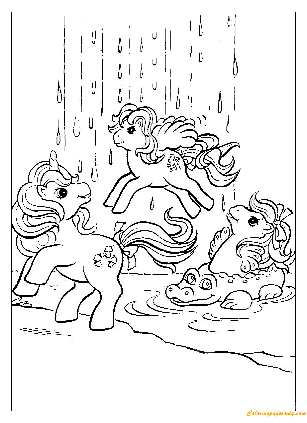 Ponies At Waterfall Coloring Page