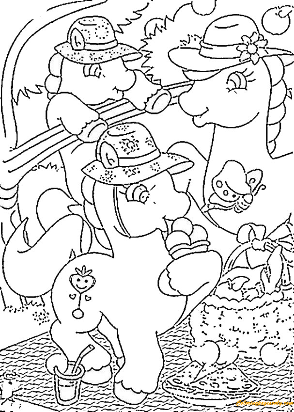 Ponies Picnic Coloring Page