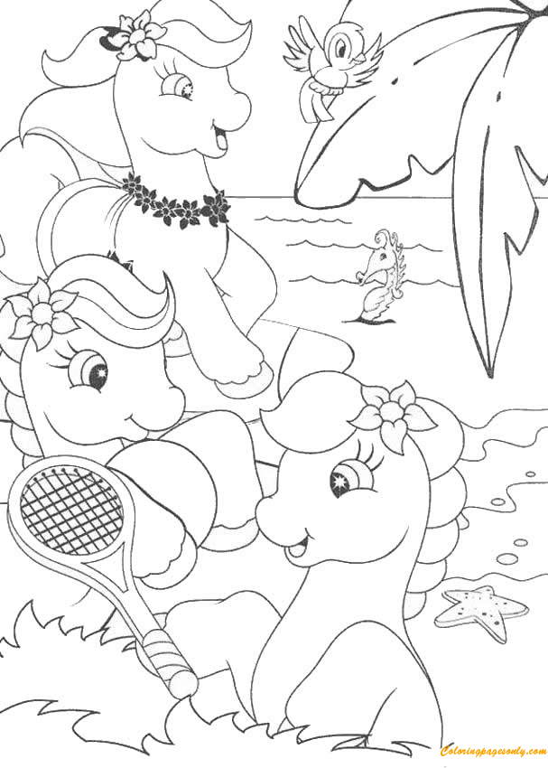 Ponies Playing Tennis On The Beach Coloring Page