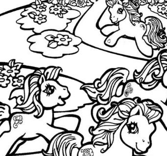 Ponies Running Coloring Page