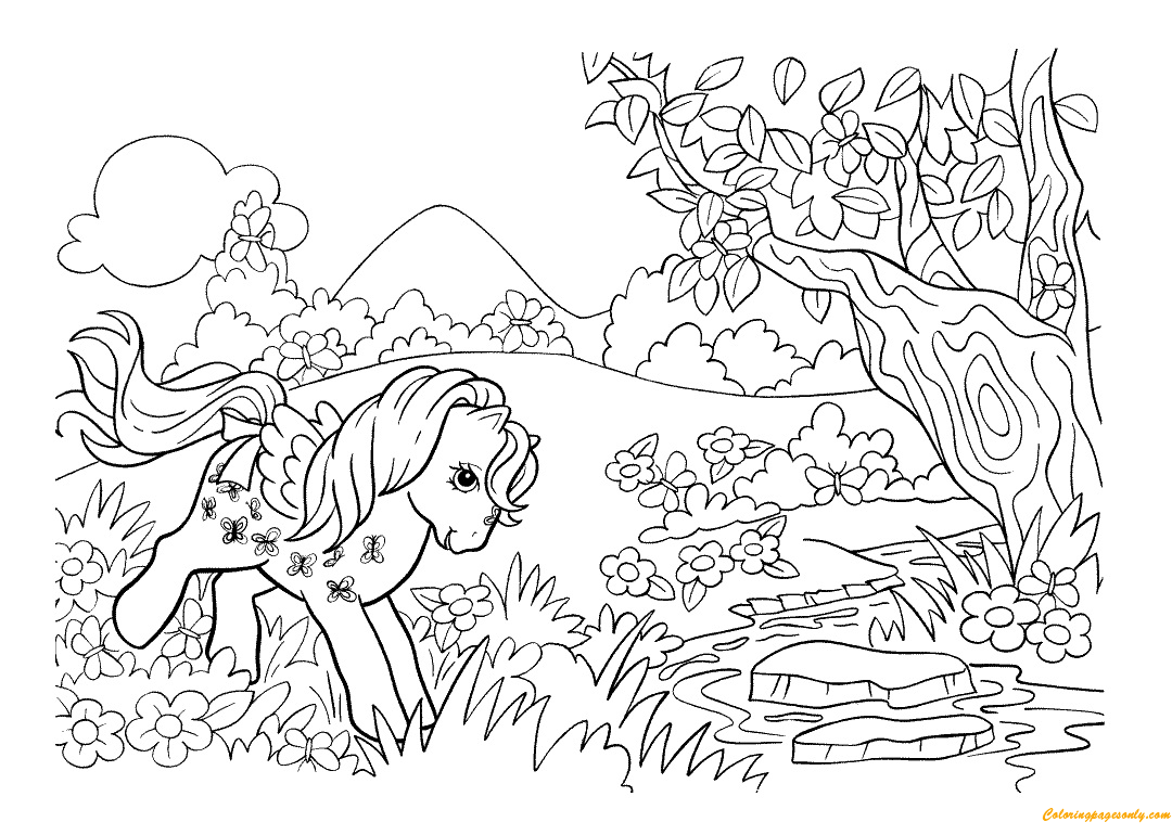 Pony In The Forest Coloring Page