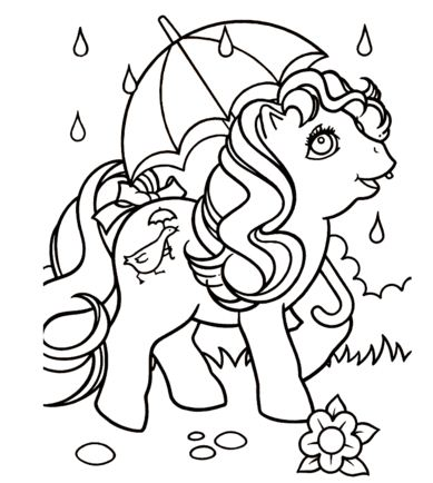 Pony With Umbrella Coloring Page