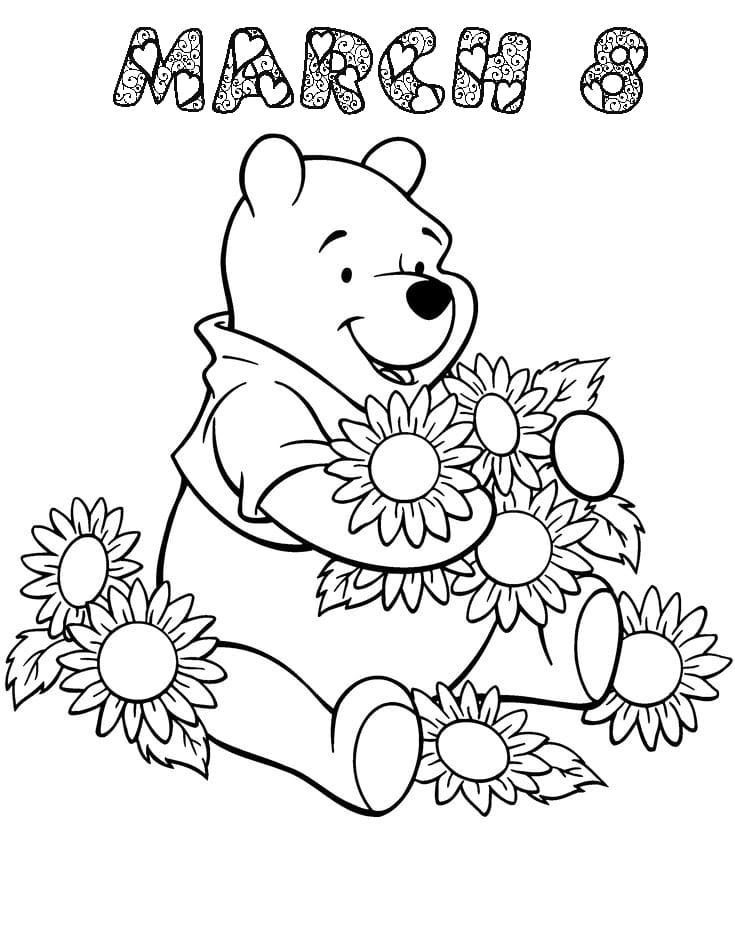 Pooh Bear congratulates Womens Day Coloring Page