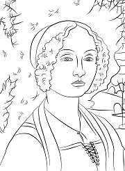 Portrait of Ginevra Benci by Leonardo Da Vinci  Coloring Page