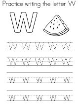 Practice writing the letter W Coloring Page