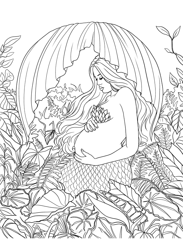Pregnant Mermaid Coloring Page