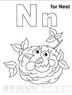 Preschool N Is for Nest  Coloring Page