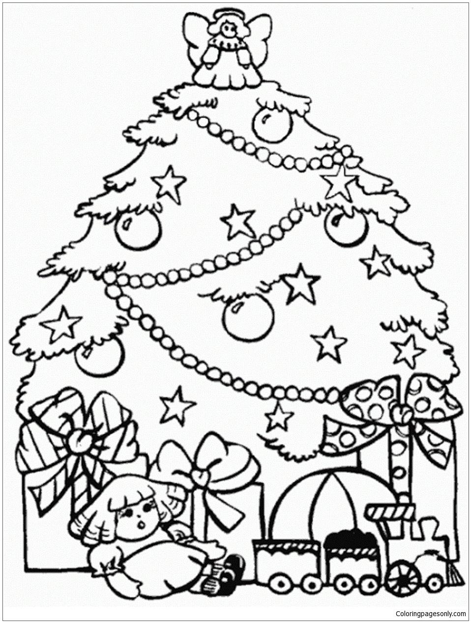 Presents and christmas tree coloring page free coloring for Coloring pages of christmas presents
