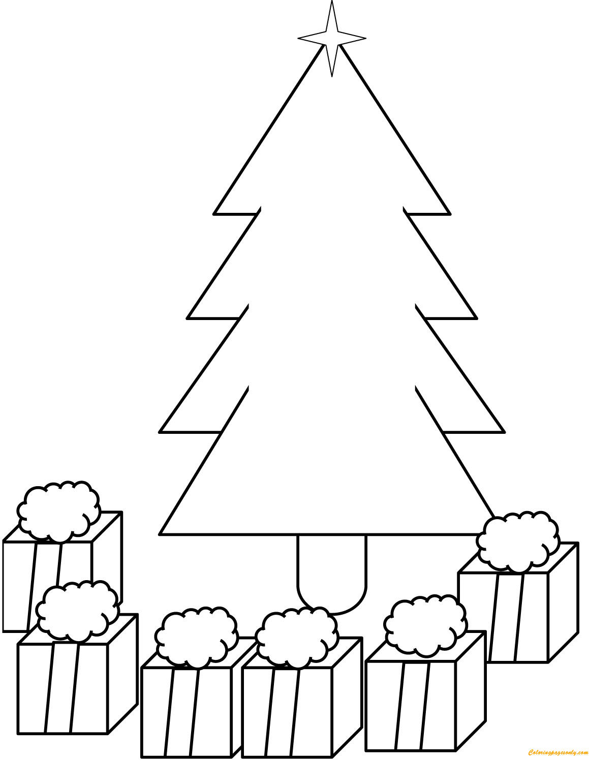 Presents Under Christmas Tree Coloring Page
