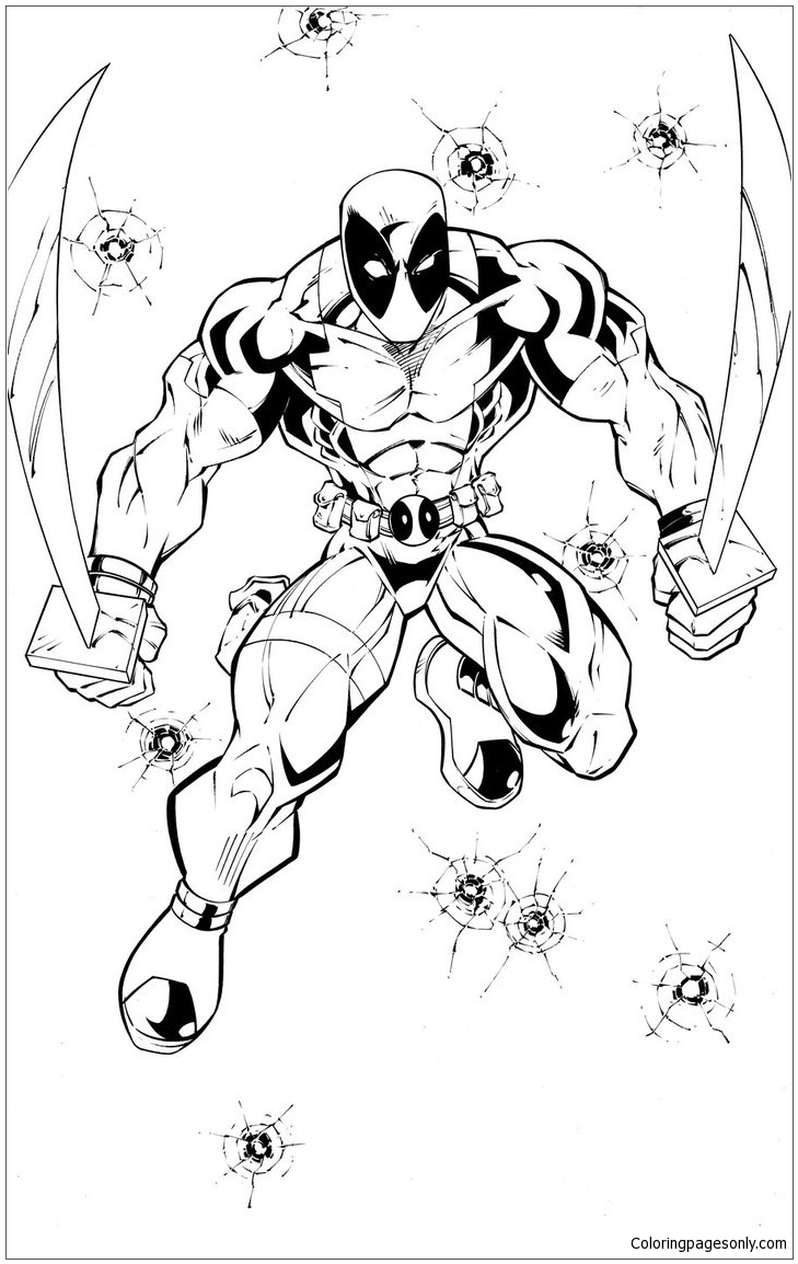 Pretty Looking Deadpool Coloring Page Free Coloring Pages Online