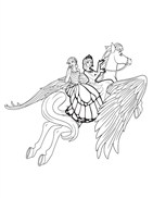 Princess And Her Friend With Horse Coloring Page