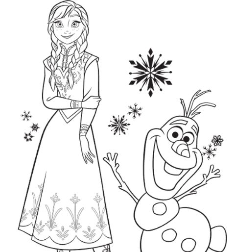 Princess Anna And Her Friend Olaf Coloring Page