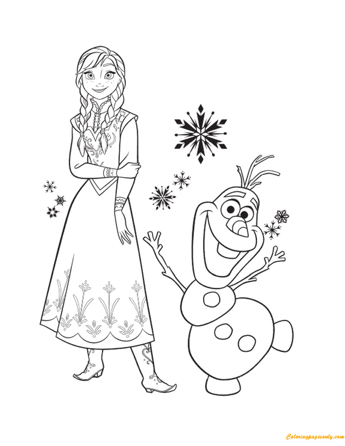 Princess Anna And Her Friend Olaf Coloring Page - Free ...