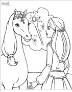 Princess Barbie Caring Horse Coloring Page