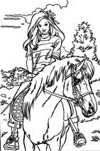 Princess Barbie Riding Horse Coloring Page