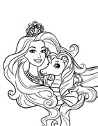 Princess Barbie With Horse Coloring Page
