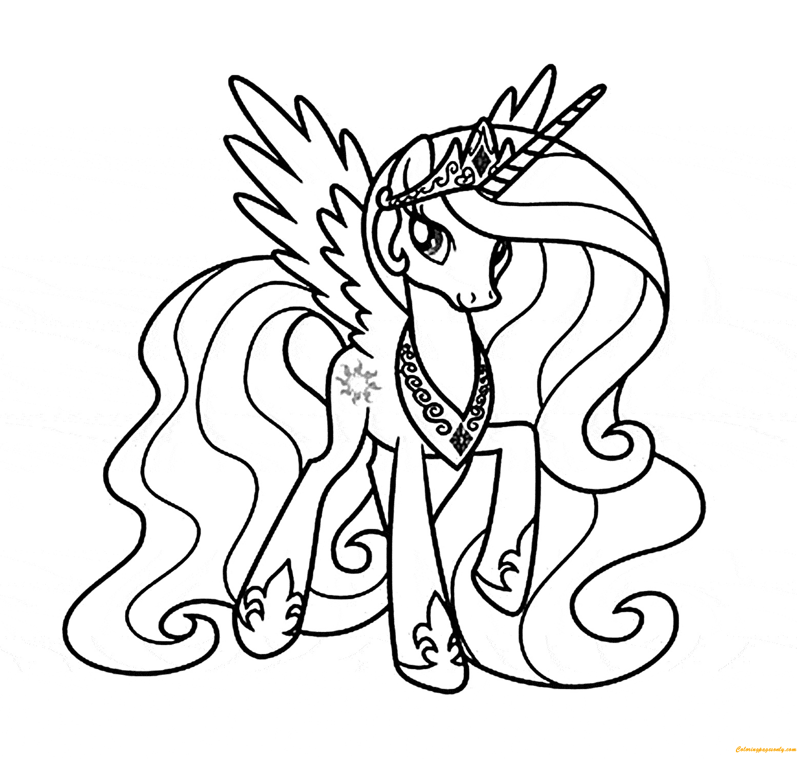full screen download print picture - Princess Celestia Coloring Page