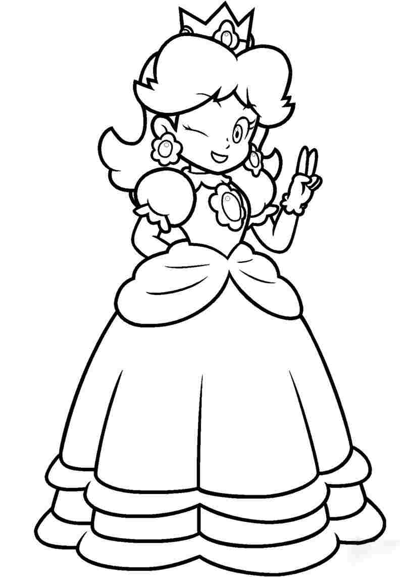 Princess Daisy says hi and winks her eyes Coloring Page