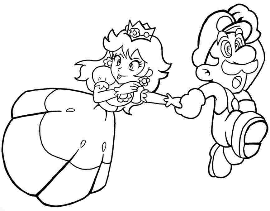 Princess Daisy with Mario run out of enemies Coloring Page