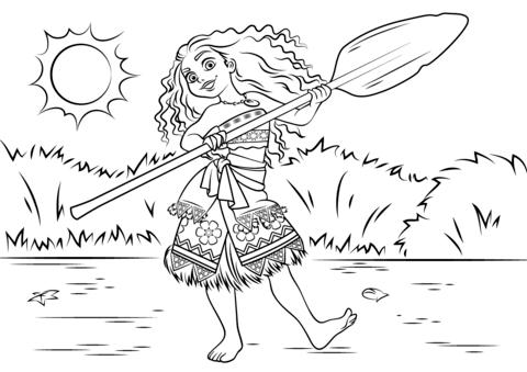 Princess Moana Waialiki from Moana Coloring Page