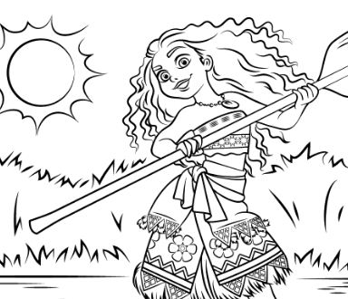 Princess Moana Waialiki Disney Coloring Page