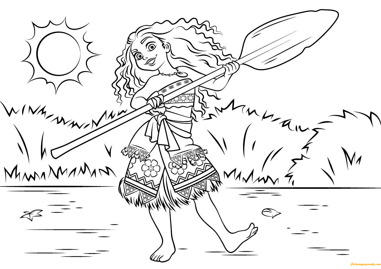 Princess Moana Waialiki Disney Coloring Page Free