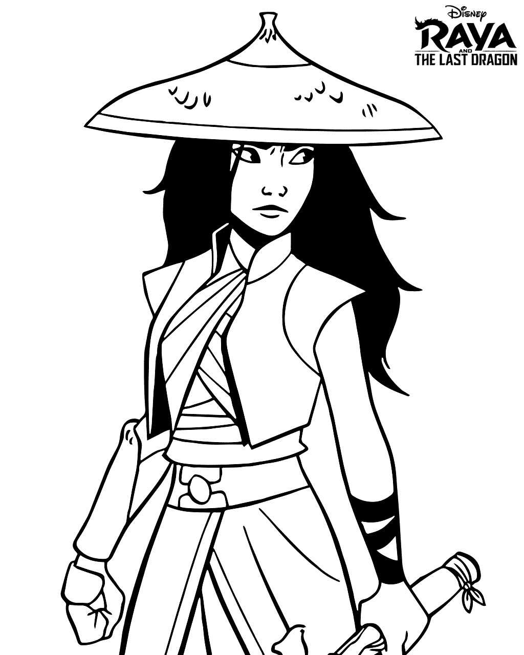 Princess Raya wears hat and holds her sword Coloring Page