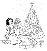 Princess Snow White Decorate The Christmas Tree