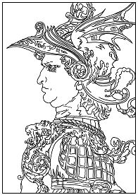 Profile of a warrior in helmet Coloring Page